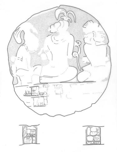 El Chal, Altar 3 drawing including glyphs on sides