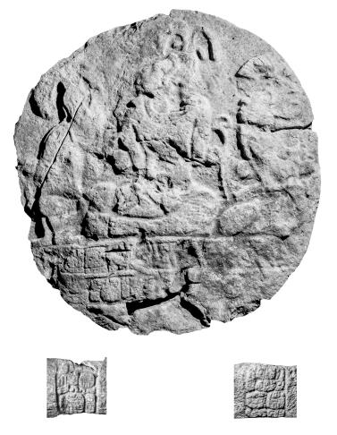 El Chal, Altar 3, photo including glyphs on sides