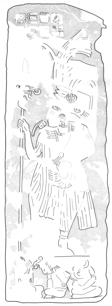 El Chal, Stela 4, back drawing