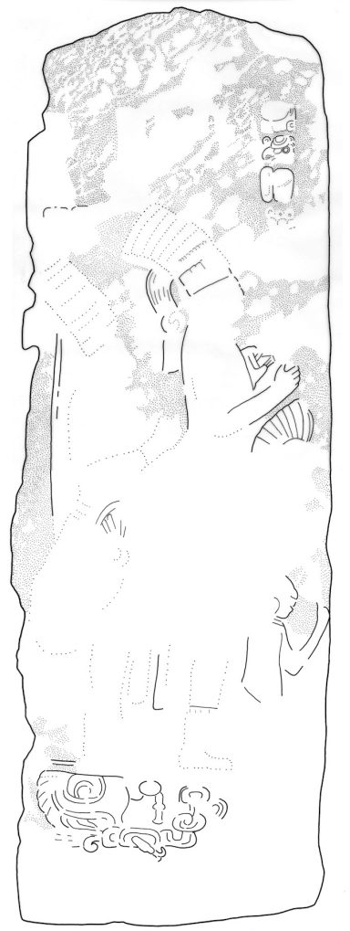 El Chal, Stela 4, front drawing