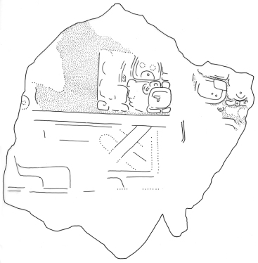 El Keej, Stela 1, Fragment c, drawing