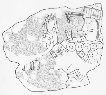 Itzimte, Stela 9, drawing