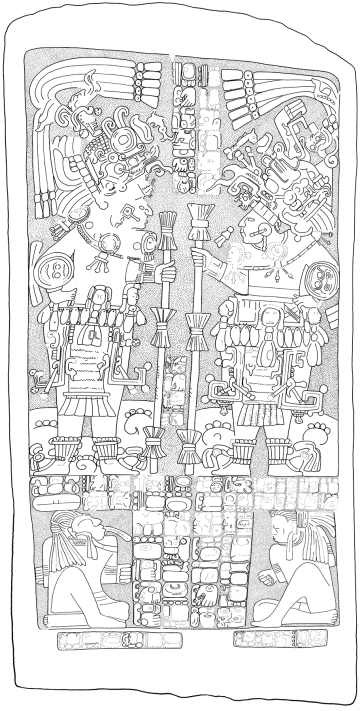 Ixkun, Stela 1, drawing