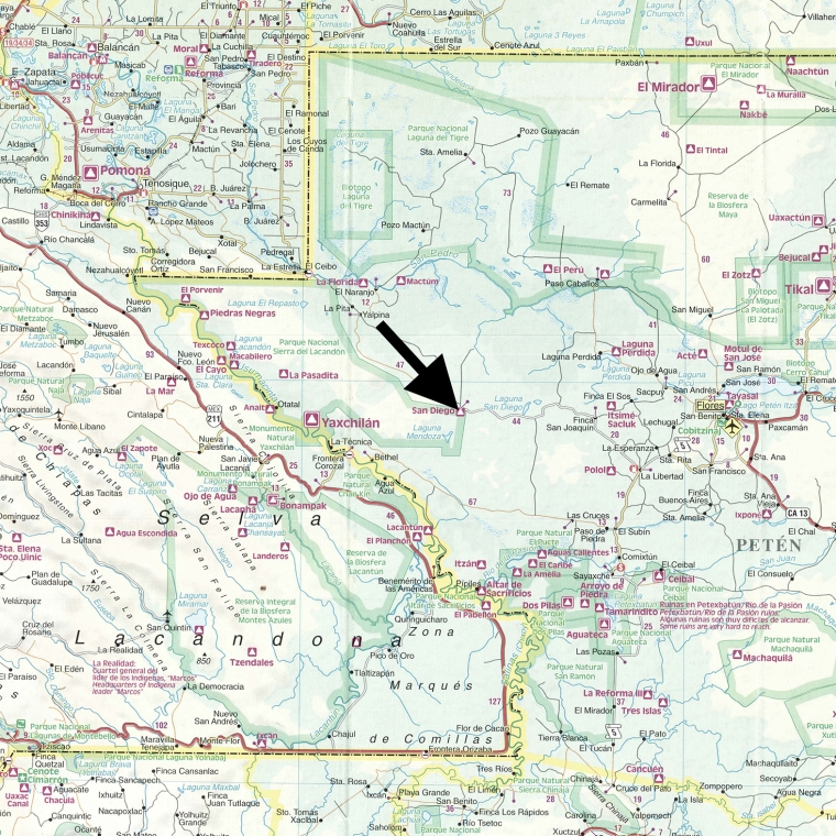 map with arrow pointing to the location of the San Diego cliff face